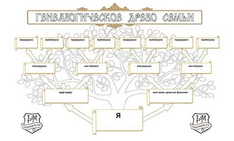 генеалогическое древо образец схема в word